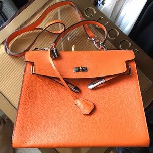 Handbags - Made In Italy Italian Leather Hermes Orange Kelly